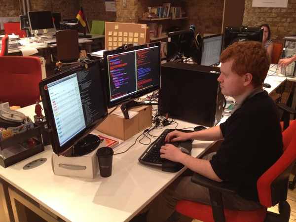 Previous Nestoria intern Vincent hacking on the geocoder